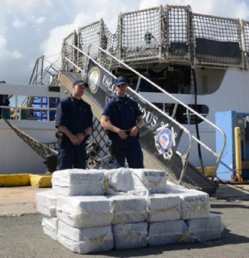 U.S. Coast Guard interdicted 2 suspected smugglers with a $14 million cocaine shipment near Puerto Rico