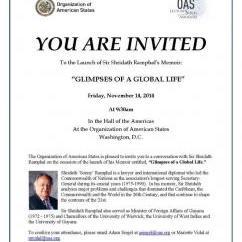 Invitation Book Launch, Glimpses of a Global Life - Sir Shridath Ramphal's Memoir