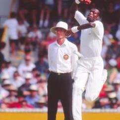 Curtly Ambrose finished with a career-best eight for 45 and match figures of 10 for 127 © Getty Images